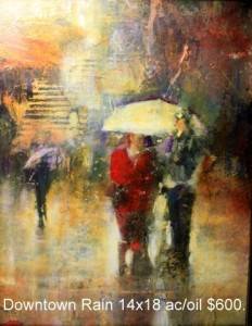 Downtown Rain 14x18 ac/oil $600