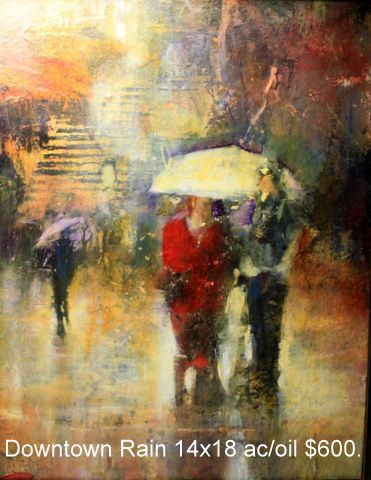 Downtown Rain 14×18 ac/oil $600