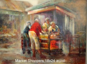 Market Shoppers 18x24 ac/oil