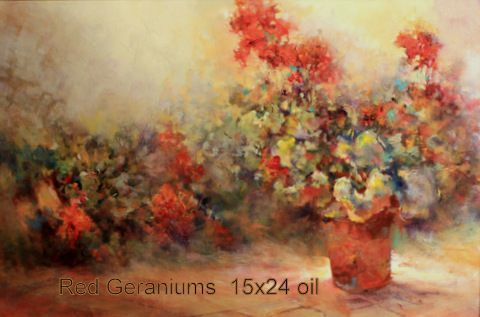 Red Geraniums 15x24 oil