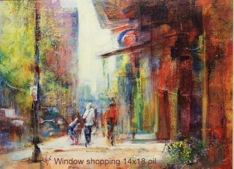 Window Shopping 14x18 oil