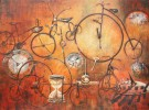 WHEELS OF TIME 30x40 Oil framed - Toosie Emin