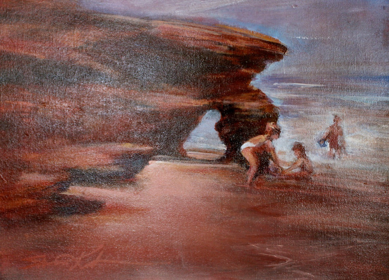 Kids at the Beach 12x16 oil $600
