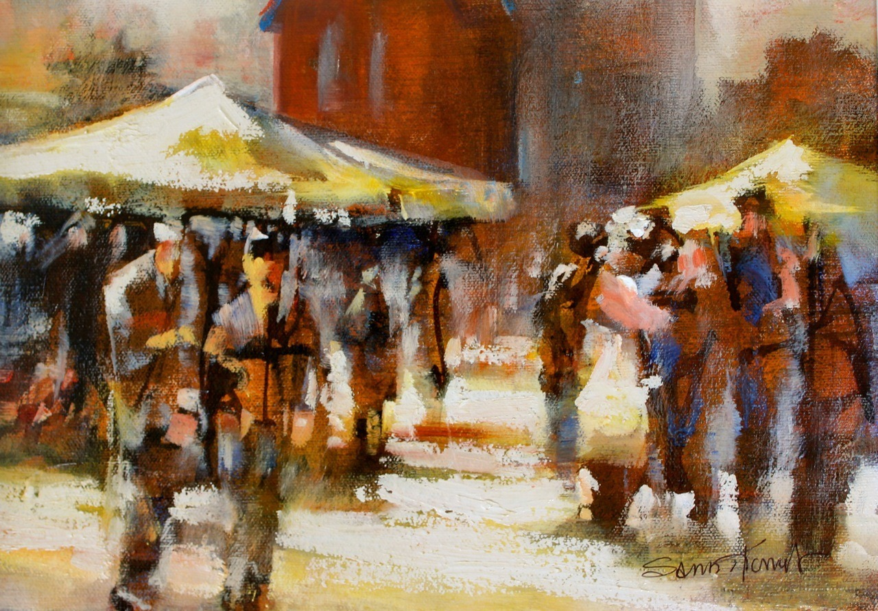 Saturday Market 12×9 oil $500