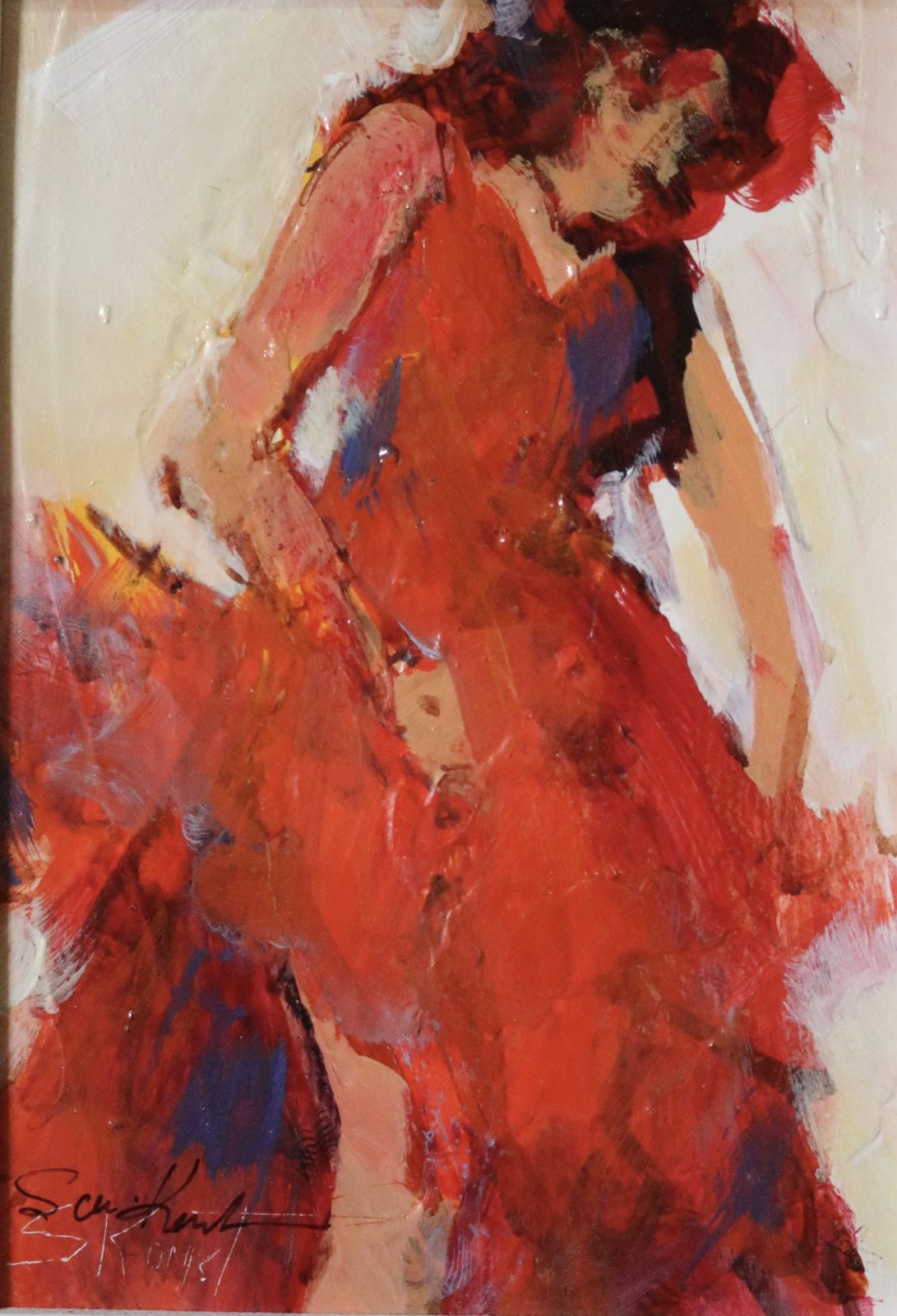Red Dress acrylic 7×5
