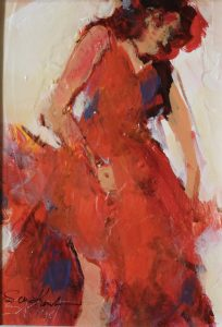 Red Dress acrylic 7x5