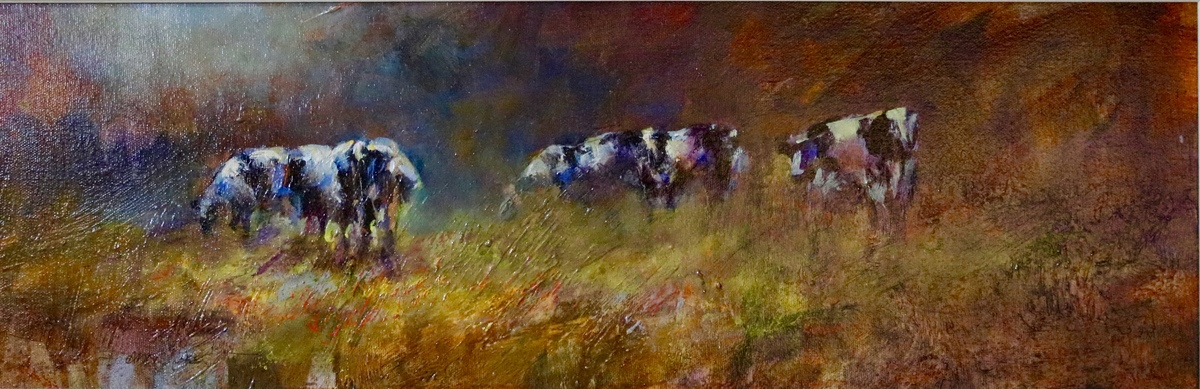 View Larger Image - Contented Cows ac/oil 8×24  SOLD